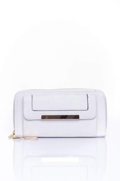 Biały portfel z kieszonką ze złotym elementem                                  zdj.                                  1