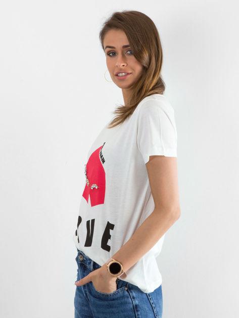 Biały t-shirt Distance                              zdj.                              3