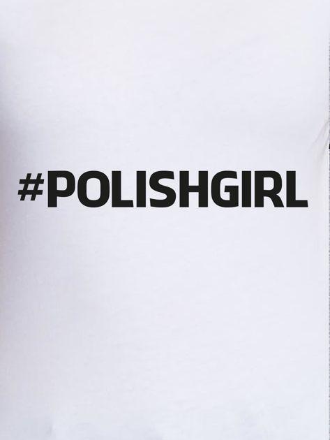 Biały t-shirt damski #POLISHGIRL z nadrukiem                                  zdj.                                  2