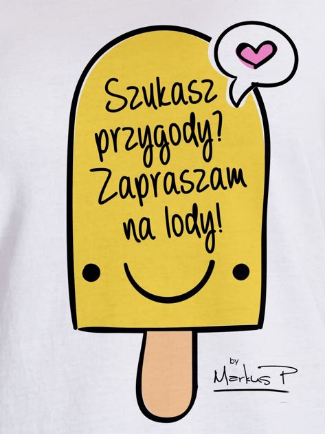 Biały t-shirt damski SZUKASZ PRZYGODY? by Markus P                                  zdj.                                  2