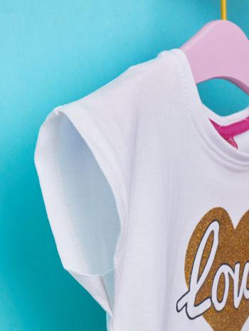 Biały t-shirt dla dziewczynki z napisem LOVE LIKE CRAZY                                  zdj.                                  5
