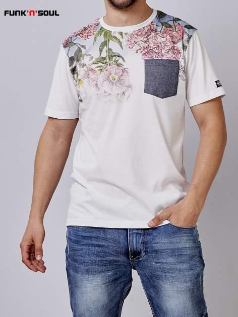 Biały t-shirt męski hipster w kwiaty Funk n Soul