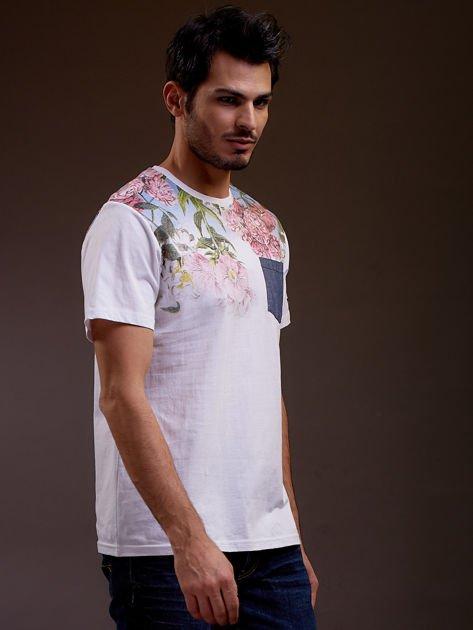 Biały t-shirt męski w kwiaty FUNK N SOUL                              zdj.                              5