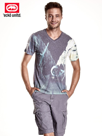 Biały t-shirt męski z fantazyjnym nadrukiem