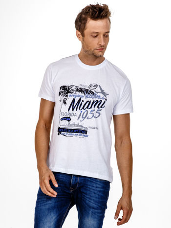 Biały t-shirt męski z nadrukiem napisów MIAMI FLORIDA 1955