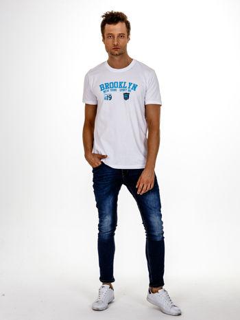 Biały t-shirt męski z napisami BROOKLYN NEW YORK SPIRIT 86                                  zdj.                                  3
