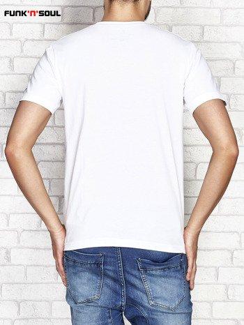 Biały t-shirt męski z surferskim nadrukiem FUNK N SOUL