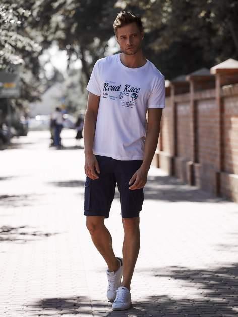 Biały t-shirt męski z wyścigowym napisem ROAD RACE                                  zdj.                                  6