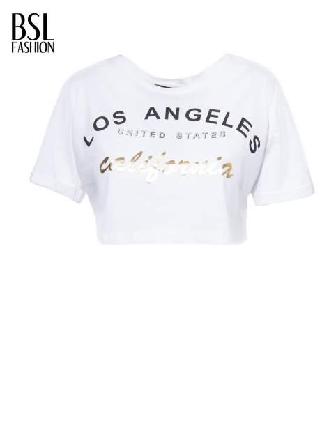 Biały t-shirt typu crop top z nadrukiem UNITED STATES                                  zdj.                                  2