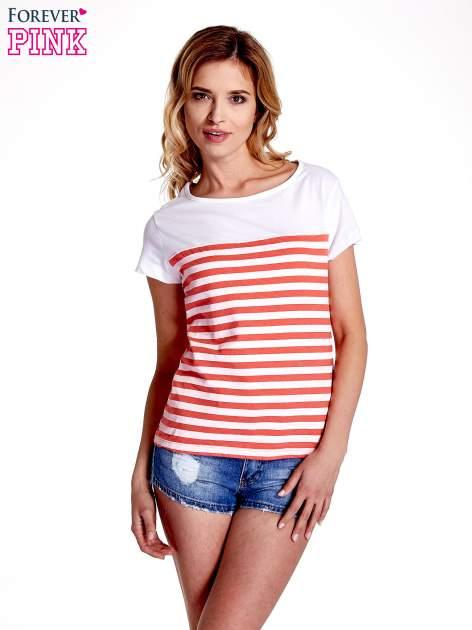 Biały t-shirt w poziome czerwone paski                                  zdj.                                  1