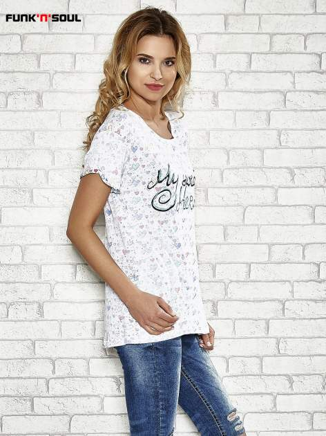 Biały t-shirt w serduszka z napisem MY SWEET HEART Funk 'n' Soul                                  zdj.                                  2