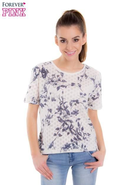 Biały t-shirt z all over floral printem