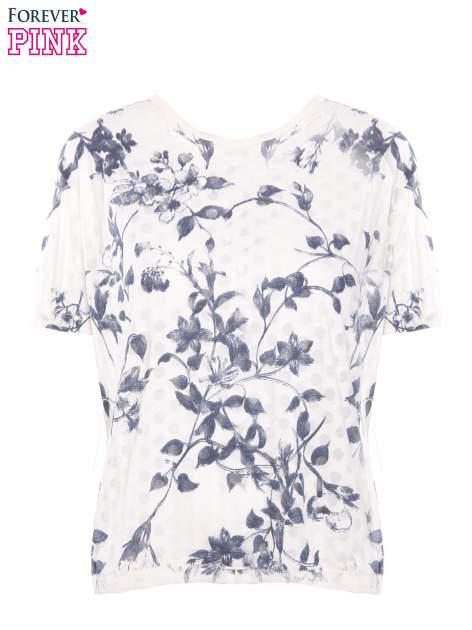 Biały t-shirt z all over floral printem                                  zdj.                                  2