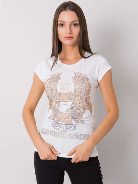 Biały t-shirt z aplikacją Haley