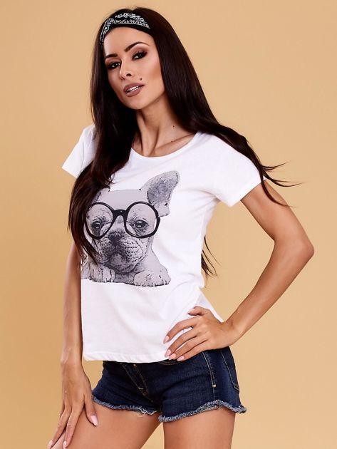 Biały t-shirt z buldożkiem                              zdj.                              3
