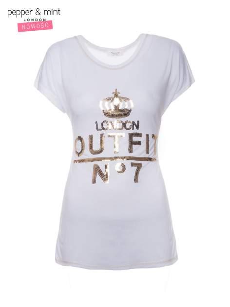 Biały t-shirt z cekinowym nadrukiem w stylu glamour                                  zdj.                                  4