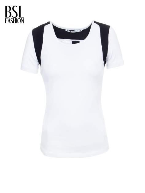Biały t-shirt z kontrastowym panelem na plecach                                  zdj.                                  7