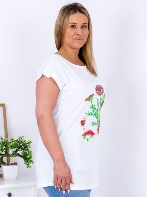 Biały t-shirt z kwiatowym printem PLUS SIZE                                  zdj.                                  3