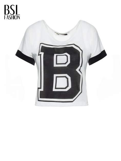 Biały t-shirt z literą B i kontrastowymi rękawami w stylu baseballowym                                  zdj.                                  2