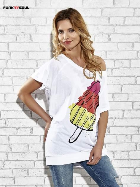 Biały t-shirt z lodowym nadrukiem Funk n Soul                                  zdj.                                  1