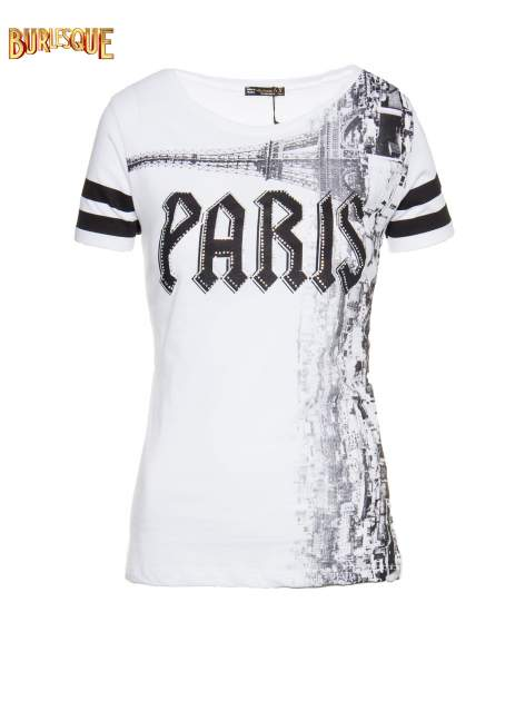 Biały t-shirt z motywem Paryża
