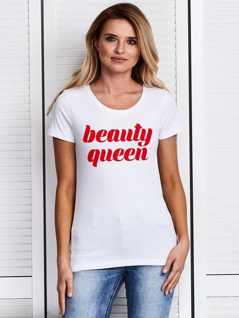 Biały t-shirt z nadrukiem BEAUTY QUEEN                              zdj.                              1
