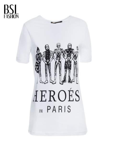 Biały t-shirt z nadrukiem HEROÉS IN PARIS                                  zdj.                                  2