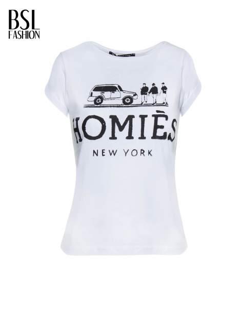 Biały t-shirt z nadrukiem HOMIES NEW YORK                                  zdj.                                  2