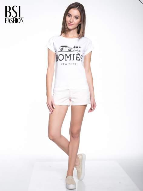 Biały t-shirt z nadrukiem HOMIES NEW YORK                                  zdj.                                  8