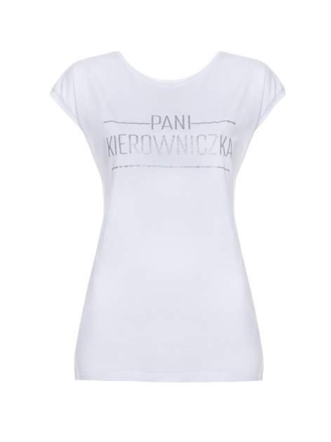 Biały t-shirt z nadrukiem PANI KIEROWNICZKA                                  zdj.                                  2