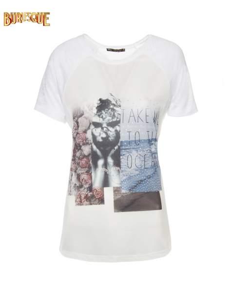 Biały t-shirt z nadrukiem TAKE ME TO THE OCEAN z dżetami                                  zdj.                                  8
