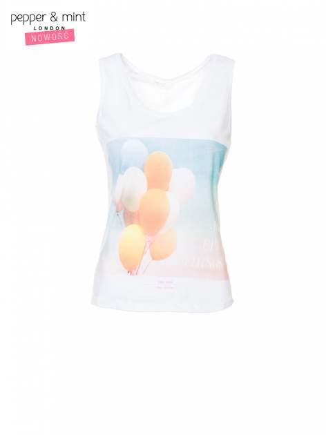 Biały t-shirt z nadrukiem balonów                                  zdj.                                  2