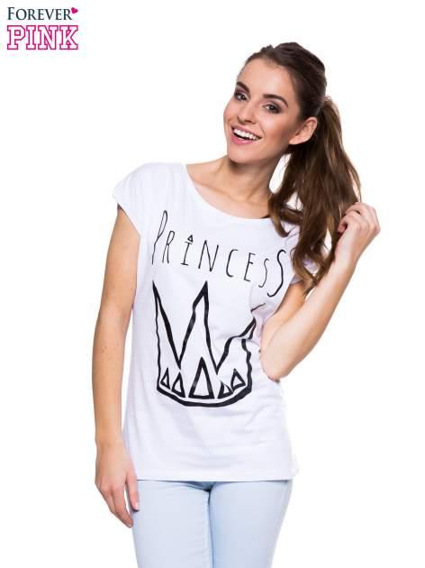 Biały t-shirt z nadrukiem korony księżniczki