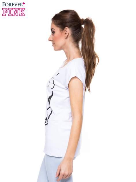 Biały t-shirt z nadrukiem korony księżniczki                                  zdj.                                  3