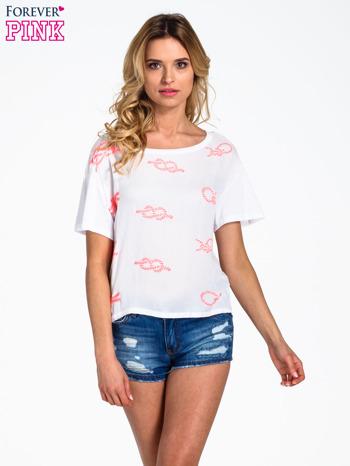 Biały t-shirt z nadrukiem nieskończoności                                  zdj.                                  1