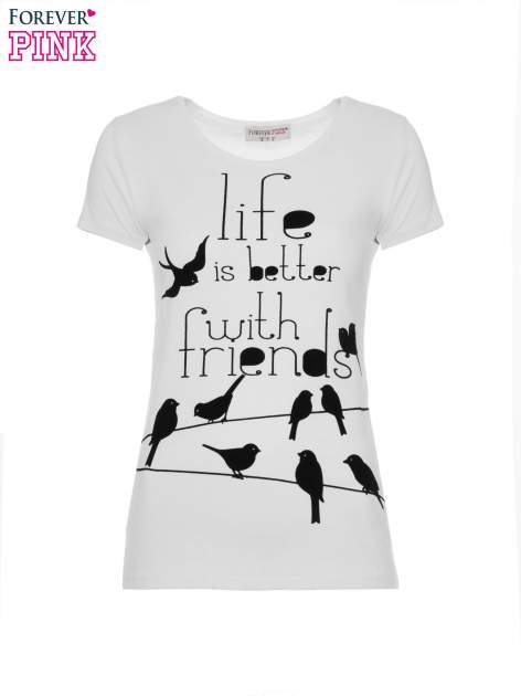 Biały t-shirt z nadrukiem ptaków i napisem LIFE IS BETTER WITH FRIENDS                                  zdj.                                  2
