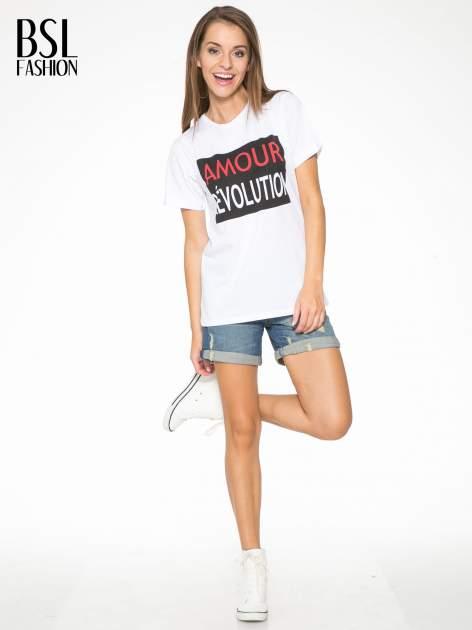 Biały  t-shirt z napisem AMOUR RÉVOLUTION                                  zdj.                                  5