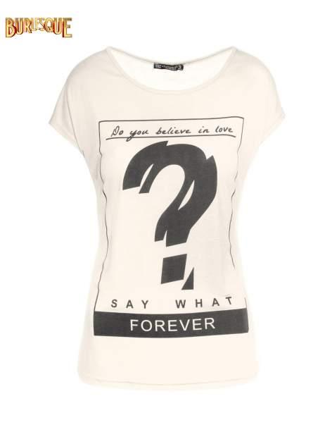 Biały t-shirt z napisem DO YOU BELIEVE IN LOVE?