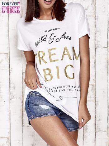 Biały t-shirt z napisem DREAM BIG                                  zdj.                                  1