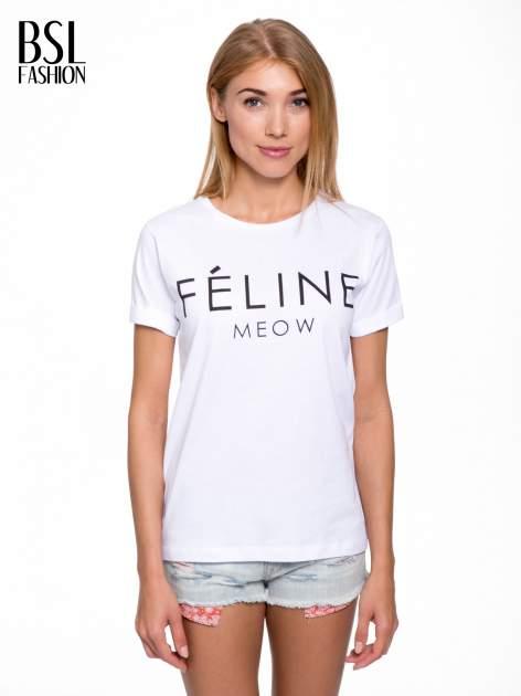 Biały t-shirt z napisem FÉLINE MEOW                                  zdj.                                  1