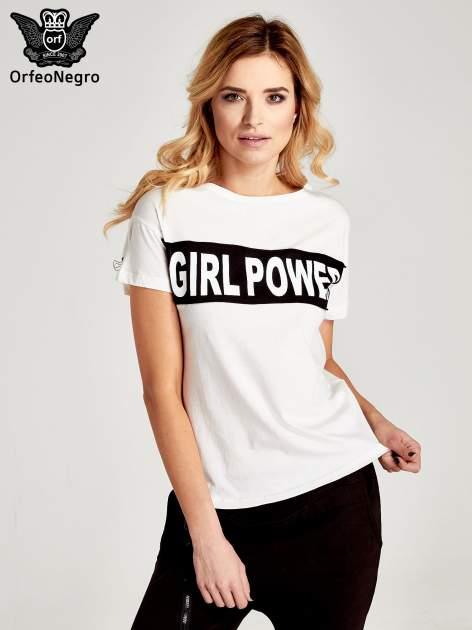 Biały t-shirt z napisem GIRL POWER