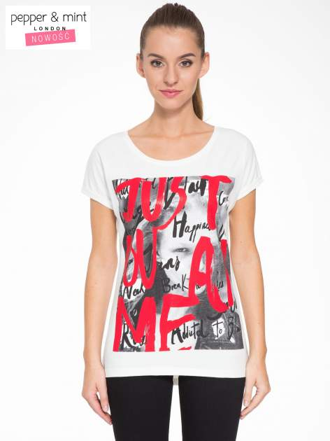 Biały t-shirt z napisem JUST YOU AND ME                                  zdj.                                  1