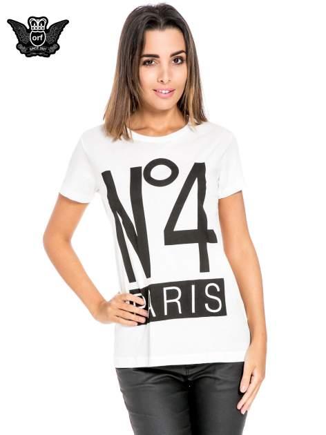 Biały t-shirt z napisem NO. 4 PARIS                                  zdj.                                  1