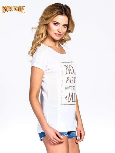 Biały t-shirt z napisem NO MORE PARTY WITHOUT ME                                  zdj.                                  3
