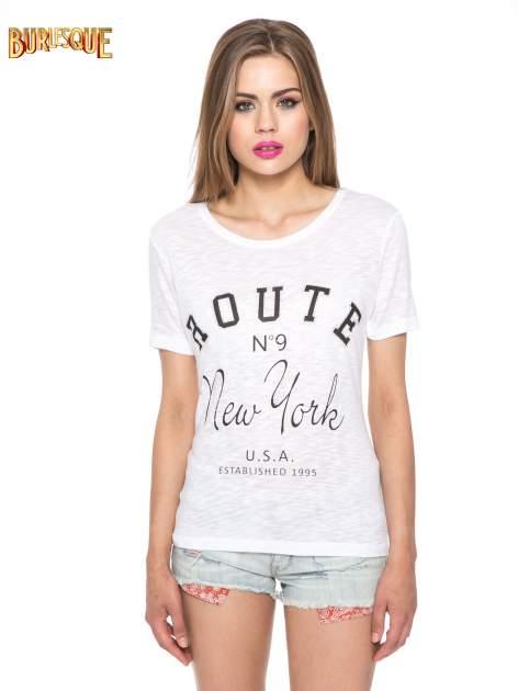 Biały t-shirt z napisem ROUTE NEW YORK                                  zdj.                                  13