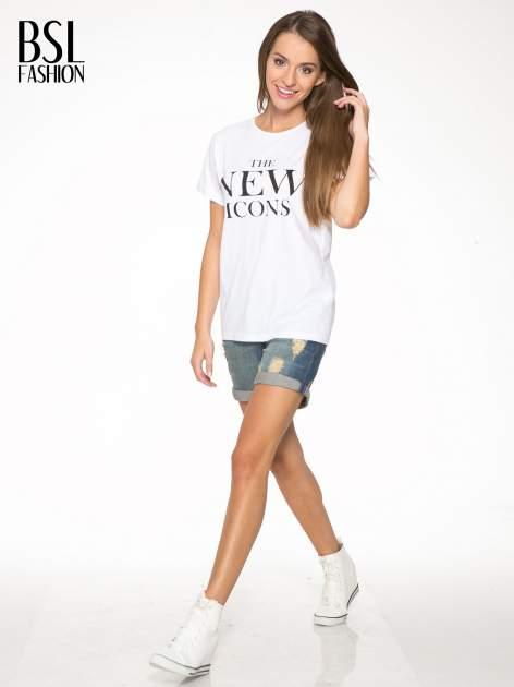 Biały t-shirt z napisem THE NEW ICONS                                  zdj.                                  5
