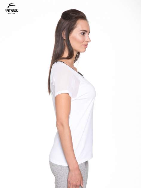 Biały t-shirt z transparentnymi rękawami                                  zdj.                                  3