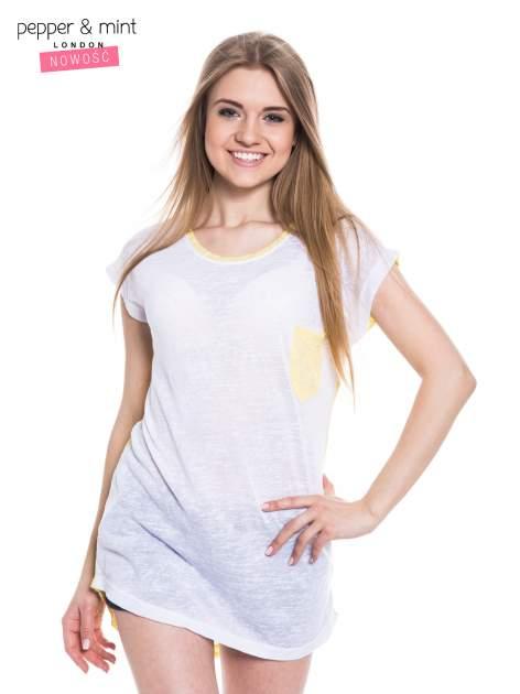 Biały t-shirt z wydłużanym tyłem w kolorze żółtym