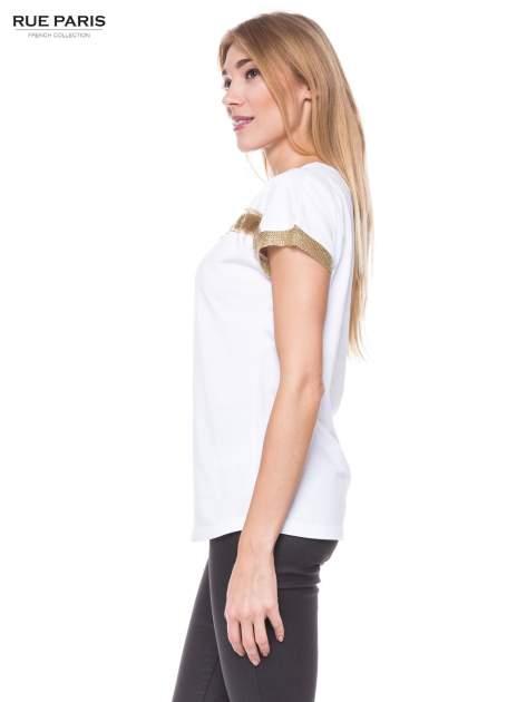 Biały t-shirt ze złotą aplikacją                                  zdj.                                  2