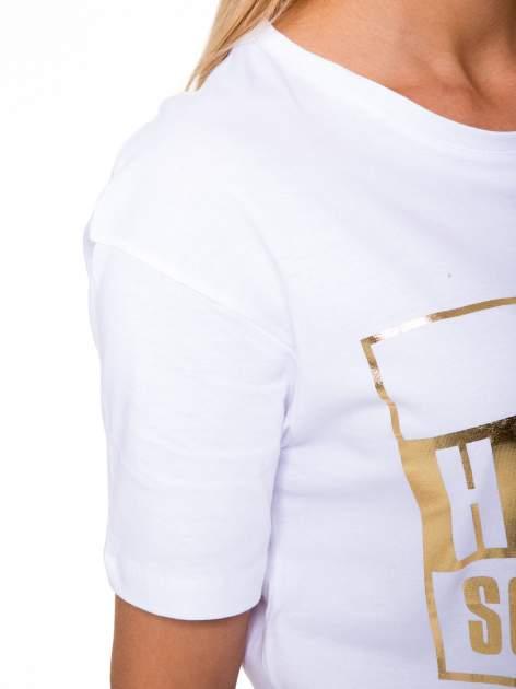 Biały t-shirt ze złotym nadrukiem HOMIES SOUTH CENTRAL                                  zdj.                                  7